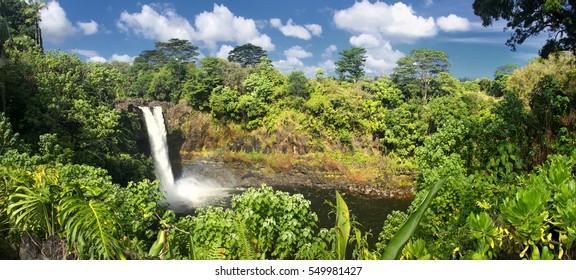 Rainbow Falls (Big Island, Hawaii) - panoramic view