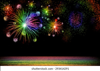 Rainbow Firework celebration on dark background.