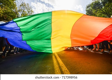 Rainbow flag as a background. LGBT