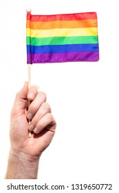 Rainbow flag depicting gay pride and rights against a white background