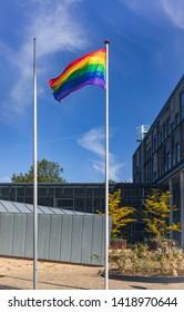 Rainbow flag floating in the wind in Nijmegen in the Netherlands