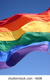rainbow flag flutters in the wind at the beach