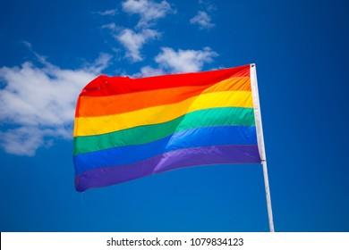 Rainbow flag on a gay beach in Miami Beach, South Beach, 12th street. Florida. USA.