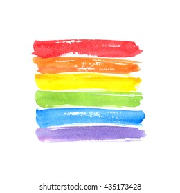 Rainbow flag, symbol of gay pride. Watercolor spectrum. Hand drawn paint strokes isolated on white background