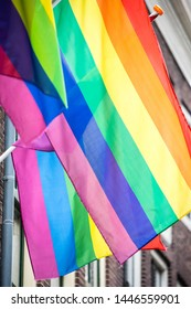 The rainbow flag, a symbol for the homosexual gay LGBTQ and LGBT community, to celebrate the upcoming pride month with a theme for equality and sexuality and gender identity