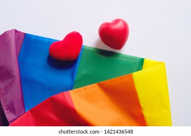 The rainbow flag is a symbol of pride lgbt and lgbtq with heart shape on white background, love wins concept