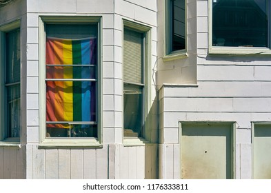 Rainbow flag in window at the Castro neighborhood in San Francisco, California, USA