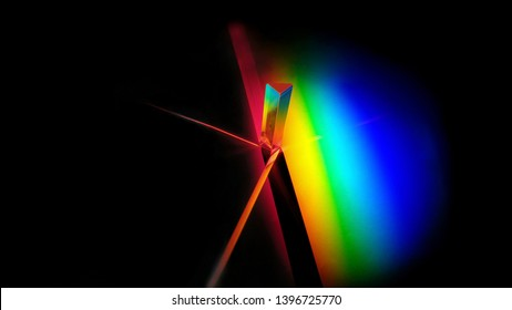 Rainbow formed from the solar spectrum with a prism. Another prism has been placed on the red color.