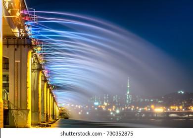 Rainbow fountain show at Banpo Bridge in Seoul city,South Korea.