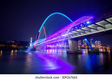 Rainbow fountain show at Expo Bridge in South Korea.