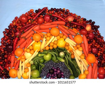 Rainbow from fruits and vegetables
