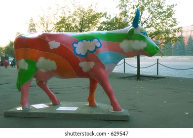 Rainbow funny painted plactic cow at the Red Square [#5197]