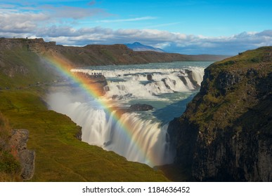 Rainbow at Gullfoss waterfall. Iceland