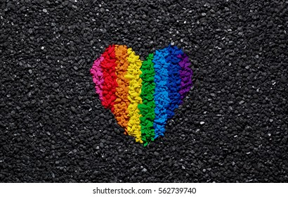 Rainbow heart on black background, gravel and shingle, LGBT colors, love wallpaper, valentine