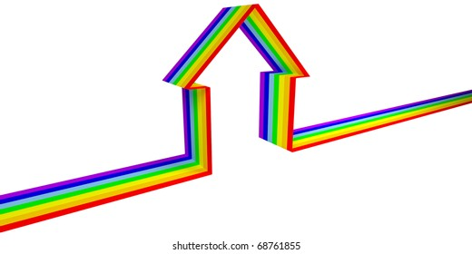 Rainbow house symbol of the tape on white background