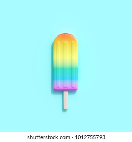 Rainbow an ice cream on blue background. minimal creative idea.
