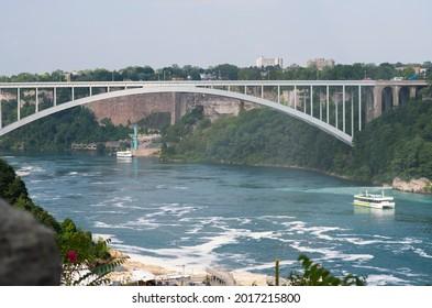 The Rainbow International Bridge is shown in Niagara Falls, Ontario, Canada.