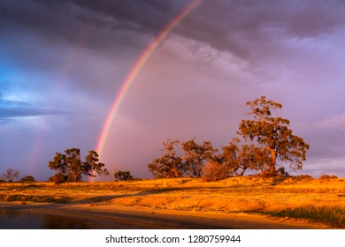 Rainbow at Lake Bonney, South Australia