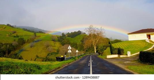Rainbow landscape at Azores, Ponta Delgada, São Miguel island