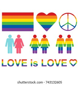 Rainbow LGBT rights icons and symbols. LGBT figures and heterosexual couple. Equality symbols. Love is love slogan. Raster illustration.