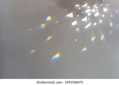 Rainbow light crystal leak overlay background. Prism glass flare effect soft focus texture. Colorful holographic shadow Mockup. Sunlight rays, iridescent prismatic reflection wallpaper