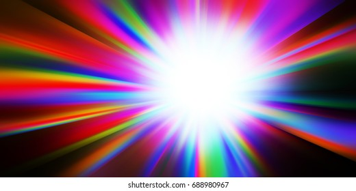 Rainbow light glow rays represented by a star burst glowing rainbow hues radiating from the center.