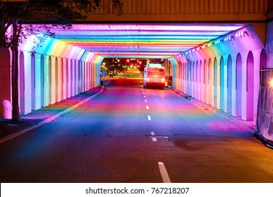 Rainbow lit bridge in Birmingham, Alabama