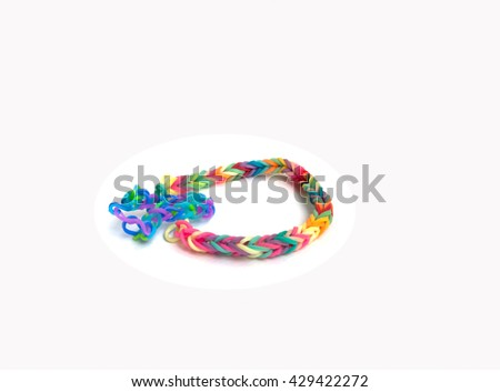 Rainbow Loom Colored Rubber Bands Weaving Stock Photo Edit Now