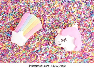 Rainbow macaron, unicorn macaron and Sugar sprinkle dots. Multi color of sugar sprinkle dots for cake and bakery decoration.