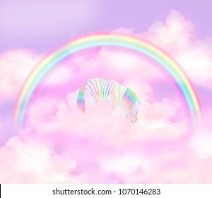 Rainbow magic unicorn cloud fantasy magical landscape on sky abstract texture fluffy clouds shine view straight, cotton wool, pink purple pastel colors fabulous background. Colorful pony zebra scene