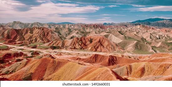 Rainbow Mountain In China, Travel Asia, Silk Road, Landscape, rainbow mountain, Travel China 2019, Purple Mountain,colorful mountain