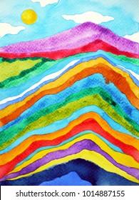 rainbow mountain range, blue sky watercolor painting illustration design