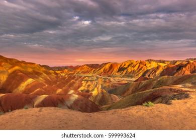 Rainbow Mountains of the Danxia Landform in Zhangye, China