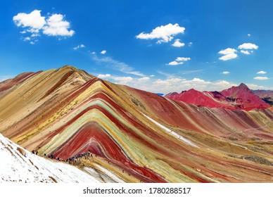 Rainbow mountains or Vinicunca Montana de Siete Colores, Cuzco region in Peru, Peruvian Andes, panoramic view