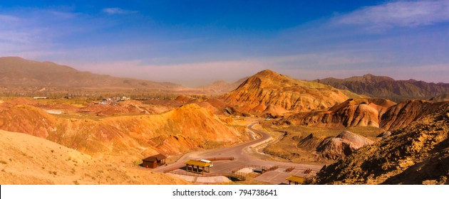 Rainbow mountains in the Zhangye Danxia Landfrom Geological park. It's Colorful rock candy-color range is locate in northwest China. One of the most beautiful landforms nature.