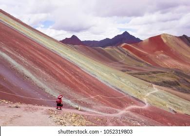 Rainbow mountain,Vinicunca colorful mountain in Cusco Peru