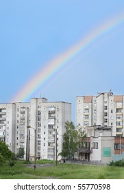 rainbow on a background houses