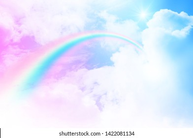 Rainbow on clouds pastel sweet sky use as beautiful background and has space for text input
