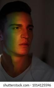 rainbow on the face of a man