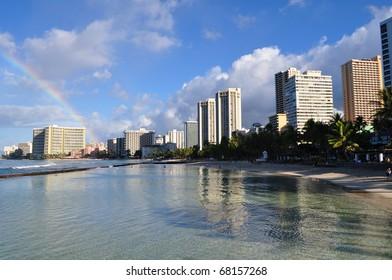 Rainbow on Hawaii Hotels and Beach