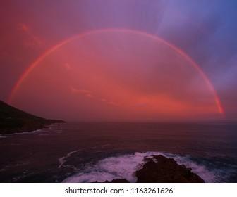 rainbow on Mediterranean sea