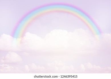 rainbow on pastel sky with texture of cloud