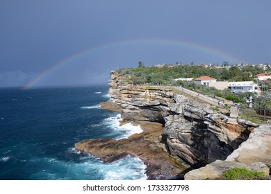 Rainbow on South Head cliff - Sydney The Gap