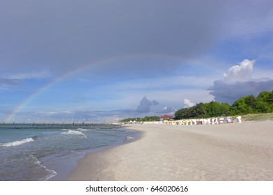 Rainbow over the beach of Zingst, Northern Germany, Baltic Sea