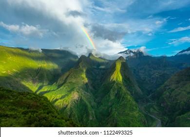 Rainbow over Cap Noir, Dos D'Ane, La Possession, Reunion Island