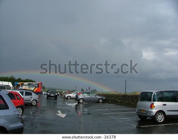 Rainbow, Over car park Homesteads Fort, Hadrians Wall, England