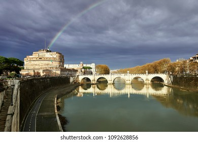 Rainbow over the Castle of San Angelo in Rome