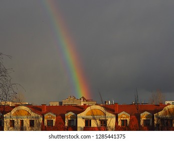 Rainbow over the city in Poland
