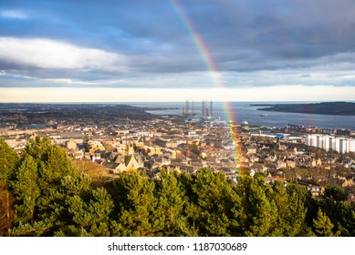 Rainbow over Dundee City Centre on a Winter Rainy Day. Scotland, UK.