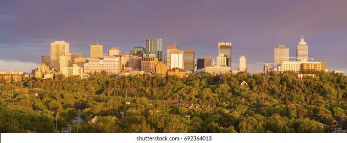 Rainbow over Edmonton. Edmonton, Alberta, Canada.